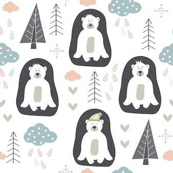 White bear pattern. scandinavian design. hand draw nordic design.