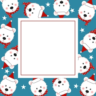 White bear santa claus on indigo blue banner card