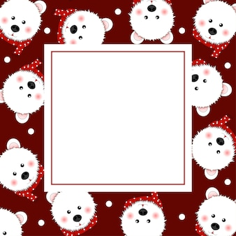 White bear with red scarf on red banner card