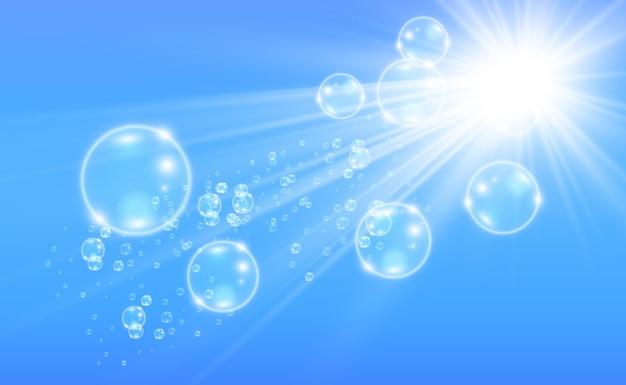 Белые красивые пузыри на прозрачном фоне иллюстрации. мыльные пузыри.