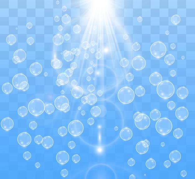 Белые красивые пузыри на прозрачном фоне векторные иллюстрации. мыльные пузыри.