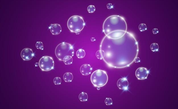 White beautiful bubbles on a transparent background illustration. soap bubbles.