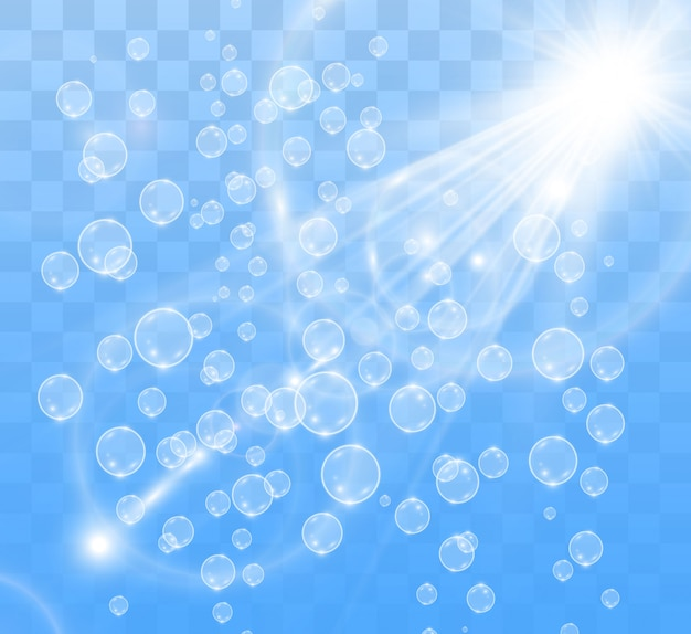 White beautiful bubbles on a transparent background vector illustration. soap bubbles.