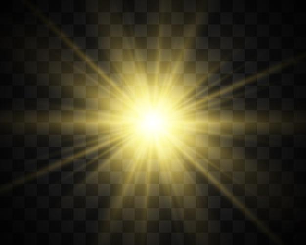 白い美しい光が透明な爆発で爆発します。輝きと完璧な効果のためのベクトル、明るいイラスト。輝く星。光沢グラデーションの透明な輝き、明るいフラッシュ