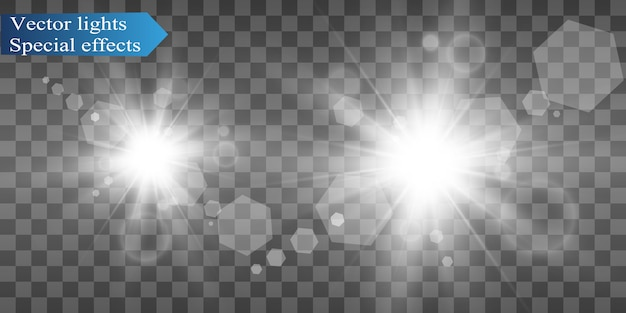 White beautiful light explodes with a transparent explosion. bright illustration for perfect effect with sparkles. bright star. transparent shine of the gloss gradient, bright flash