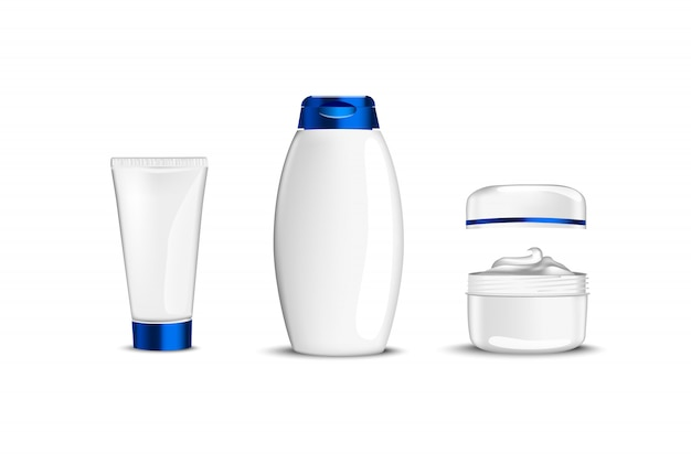 White beauty cosmetic containers with blue cup for creme shampoo gel