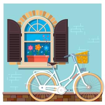 自転車で家の窓の建物の通りのファサードの近くに白い自転車。デザインバナーやパンフレットのフロントショップ。ベクトル図