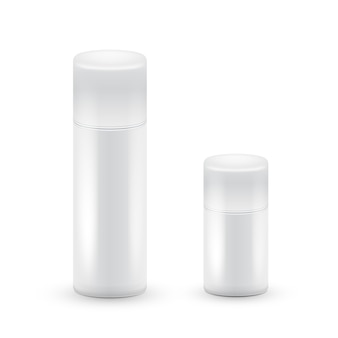 White big and small bottles of aerosol spray, metal bottle for cosmetic, perfume or hairspray. deodorant packing.