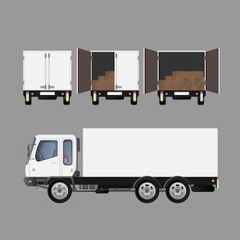 さまざまな側面からの白い大きなトラック。商品の輸送と配送をテーマにしたデザインの要素。孤立。 。