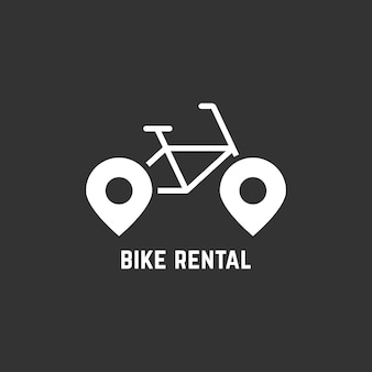 ピン付きの白い自転車レンタルのロゴタイプ。自転車のコンセプト、自転車の販売、自転車のレンタル、旅行、会社のマーク、修理、ガイド。黒の背景に分離。フラットスタイルのモダンなブランドデザインベクトルイラスト