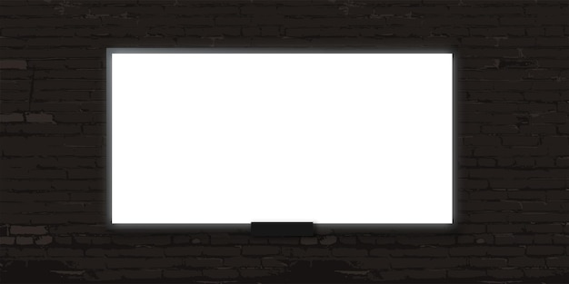 White billboard on grey brick wall background blank poster or display banner
