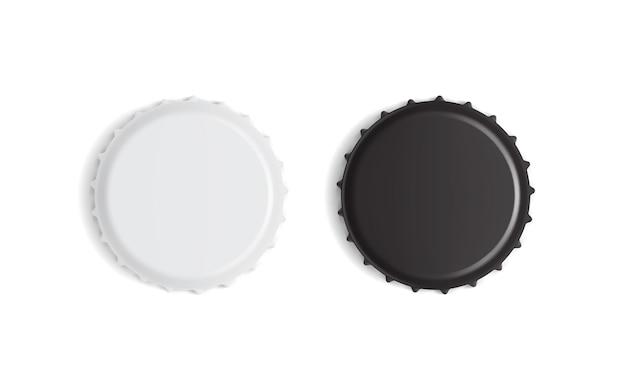 White and black bottle caps isolated on white background