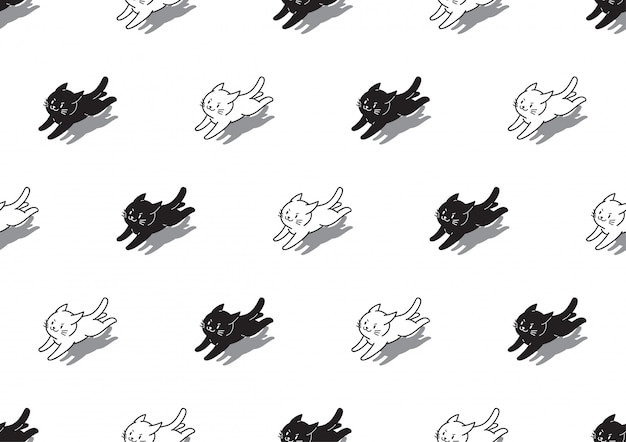 White and black cats seamless pattern background