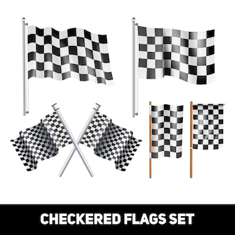 White and black checkered flags on shaft and pole realistic color decorative icon set