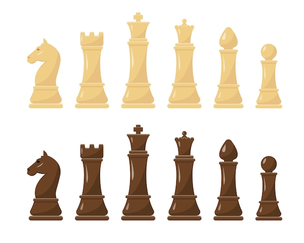 White and black chess figures set  illustration. collection of king, queen, bishop, knight, rook and pawn.