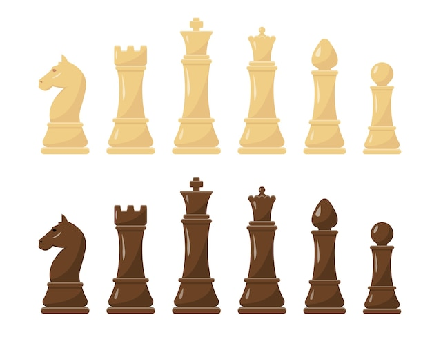 White and black chess figures set vector illustration.