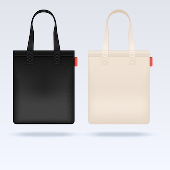 White and black fabric cloth tote bags