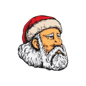 White and black head of santa claus illustration