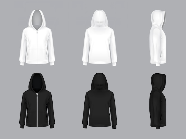White and black hoodie with long sleeves and pockets, front, back, side view,
