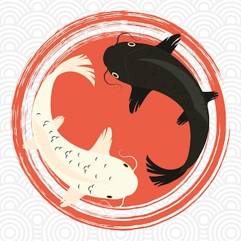 White and black koi fishes in circles