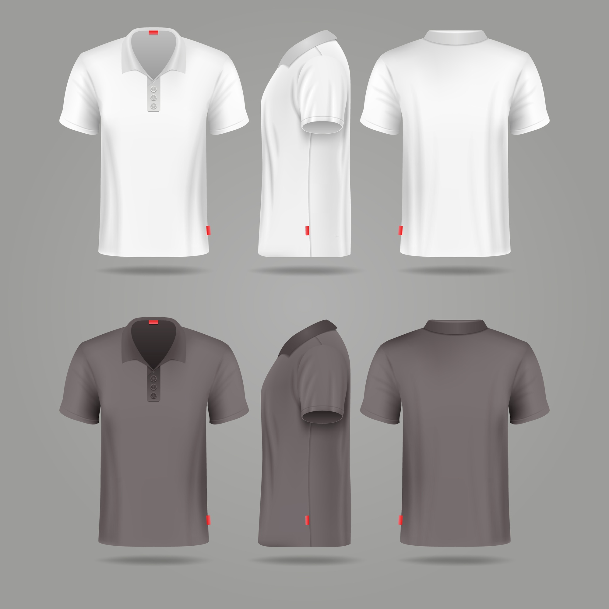 White black mens polo t-shirt front back and side views vector mockups. Template fashion tshirt for