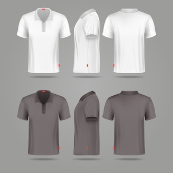 White Black Mens Polo T Shirt Front Back And Side Views Vector Mockups Template