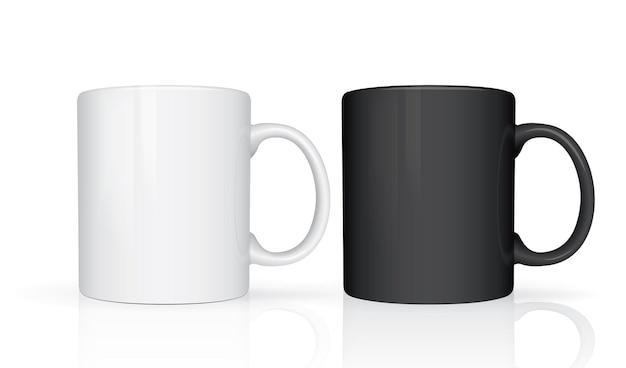 White and black mugs isolated on white background