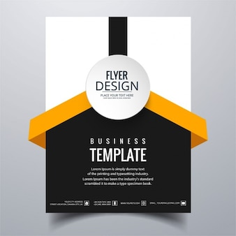 White, black and orange geometric brochure