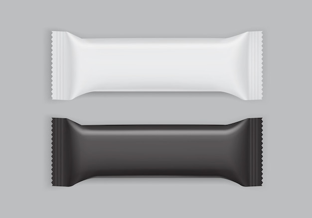 White and black paper packaging isolated