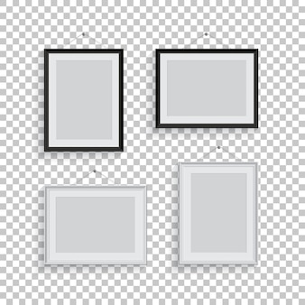 White and black picture or photo frames in different positions isolated on transparent background.