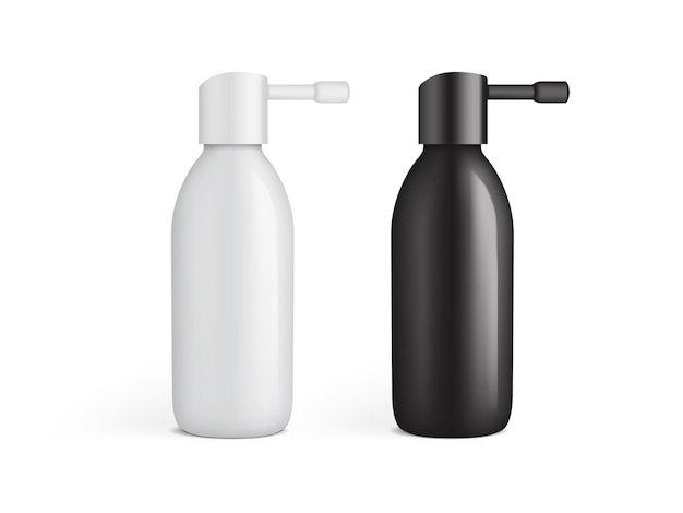 White and black plastic bottle for ear spray isolated
