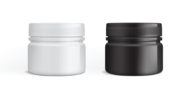 White and black plastic cream packaging isolated
