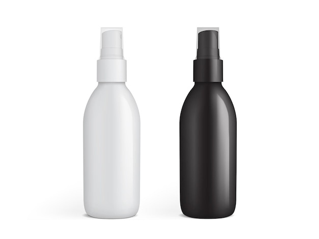 White and black plastic spray bottle isolated