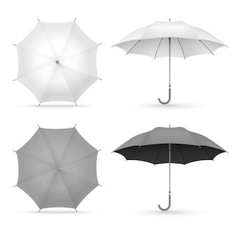 White and black realistic umbrellas