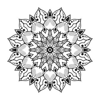 White and black round mandala
