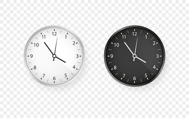 White and  black round wall office clock set Premium Vector