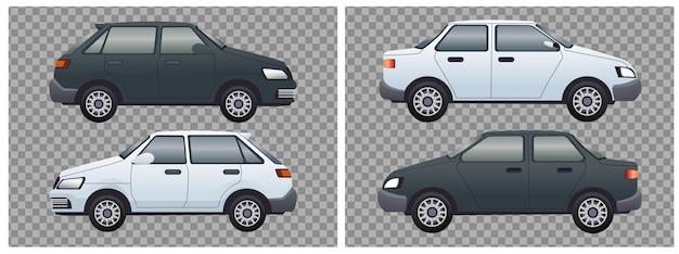 White and black set sedans cars vehicles branding