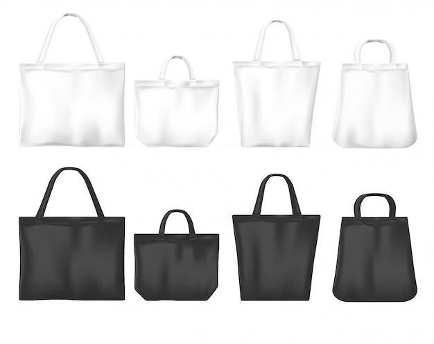 White and black shopping eco friendly bags