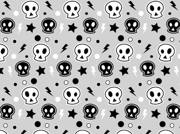 White and black skulls bacground