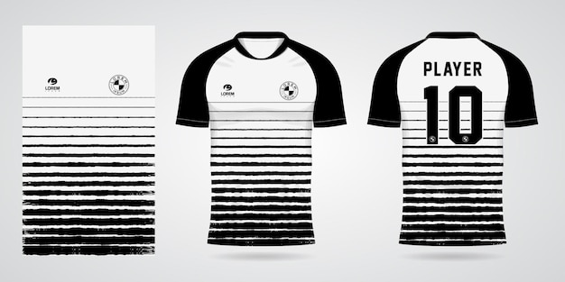 White black sports jersey template for team uniforms and soccer t shirt design