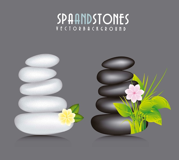 White and black stones spa vector illustration