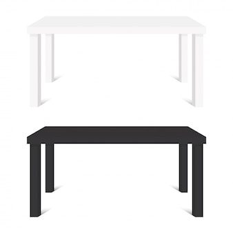 White and black tables