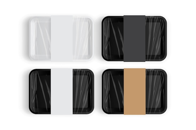 White and black tray packaging for food isolated