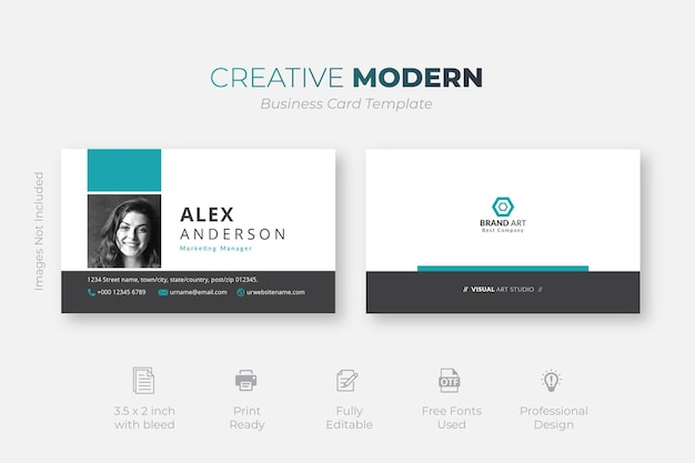 White, black and turquoise business card with blue details