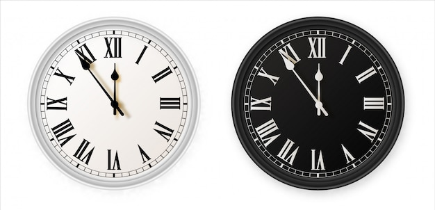 White and black wall office clock icon set. design template closeup in . for branding and advertising isolated on white background.