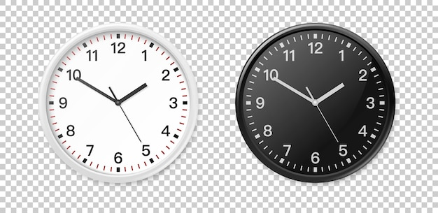White and black wall office clock icon set. design template closeup in eps10 vector. mock-up for branding and advertise isolated on transparent background.