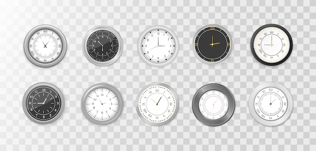 White and black wall office clock icon set. modern white, black round wall clocks, black watch face and time watch mockup. mock-up for branding and advertising.   illustration,  .