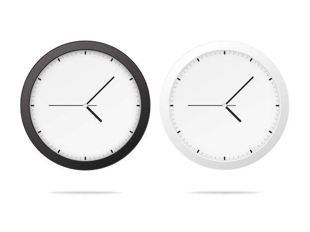 White and black wall office clock