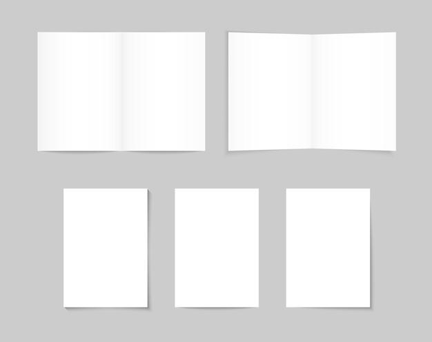 ホワイトブランクa4 / a5パンフレット。ホワイトペーパー、さまざまな影のバナーシート。パンフレットのモックアップ