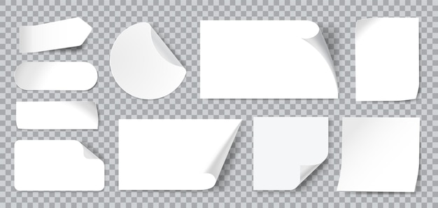 White blank adhesive stickers with folded or curled corners. realistic paper sticky notes